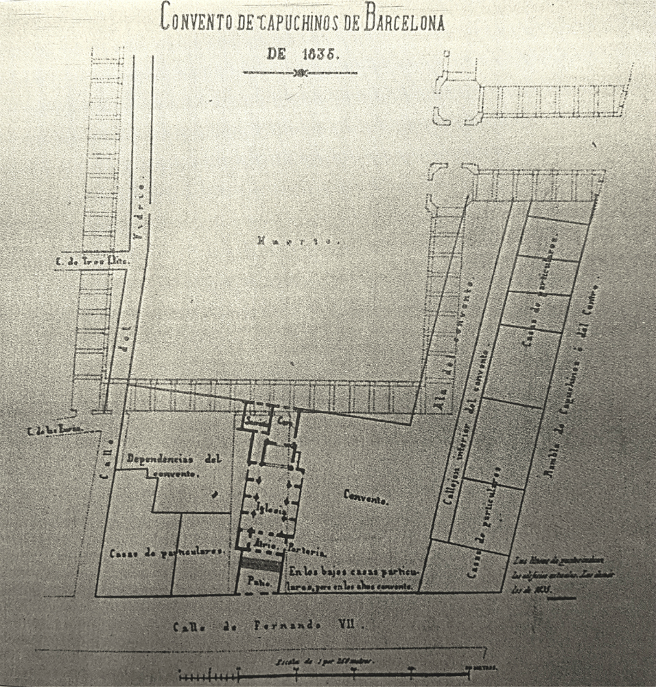 "Map of the new Capuchins Convent, in 1824 the main entrance was by the new open street after called ""Ferran""."