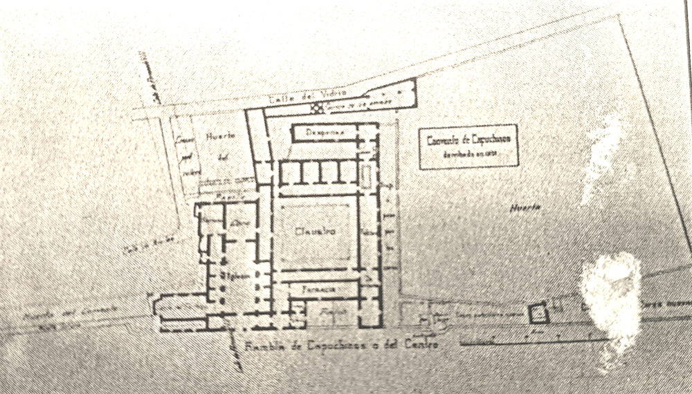 "Capuchins Convent plan in 1823 with its main entrance by ""La Rambla""."