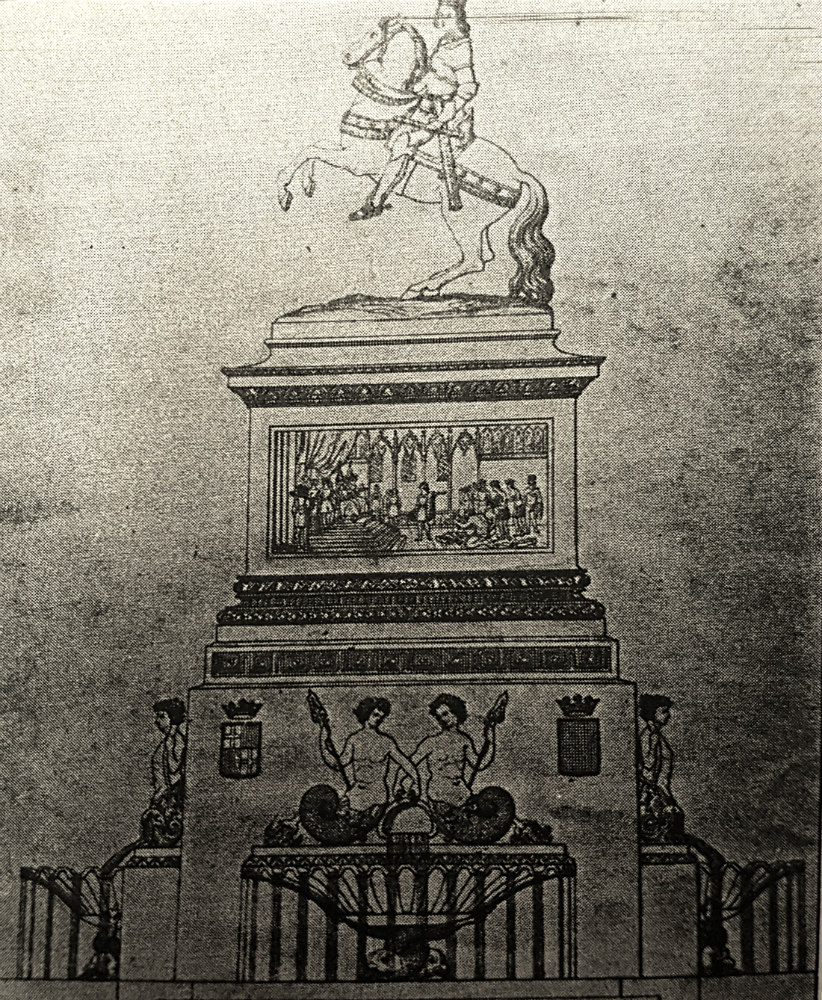 "Monument project to ""Ferran el Católic"" to settle in the square centre. The original project of Francesc Daniel i Molina 1848."